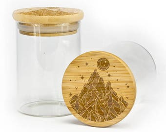 Stash jar with airtight silicone seal Starry Night Mountain Scene storage jar container.
