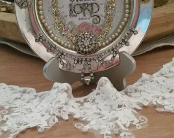 Silver Plate Decorated with Vintage Jewelry