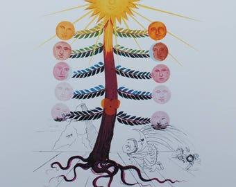 Salvador DALI - tree Sun - Printographie signed #800ex 1979