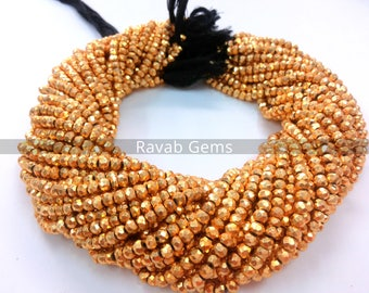 Amazing Quality Gold Pyrite Faceted Rondelle Beads, Golden Pyrite Rondelle ,24K Gold, Measure 3-4mm – 13 Inch Long, 1 Strand