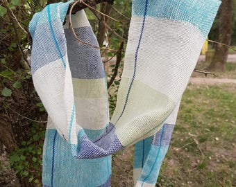 Blue organic cotton and linen scarf, woven hands