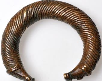 Antique Baule Bronze Bracelet Currency from Ivory Coast, West Africa - BR360