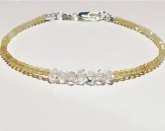 Citrine Bracelet, personalized bracelet, Citrine crystal bracelet, Herkimer and Citrine gemstone, Herkimer Bracelet, November stacking stone