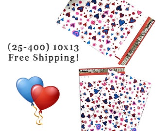 """FREE SHIPPING! (25-400 Pack) 10x13"""" Blue Hearts Designer Poly Mailers"""