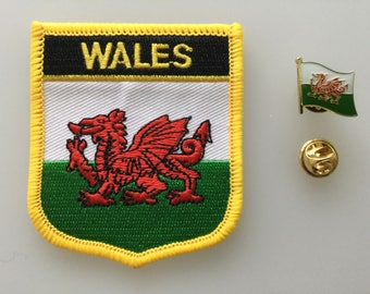 Wales Shield Country Flag Embroidered Patch and Pin Badge Set