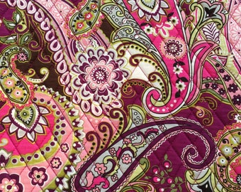 """Double Sided Quilted Fabric Square 45x45cm(17""""x17"""") QF002_Pink Paisley Floral Circle"""
