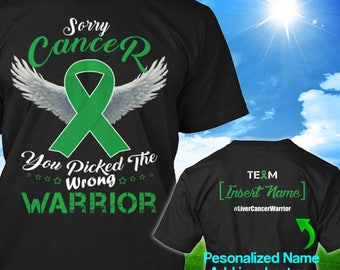 Personalized Liver Adrenal Cancer Awareness Tshirt Green Ribbon Warrior Support Survivor Custom T-shirt Apparel Unisex Women Youth Kids Tee