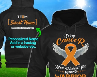 Personalized Appendix Cancer Awareness Hoodie Amber Ribbon Warrior Men Women Mom Dad Kid Youth Custom Unisex Pullover Gift Winter Cloth