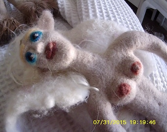 """Needle felted """"Paleo"""" winged nude fantasy faun doll - """"Annie"""""""