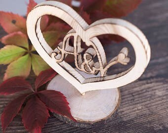 Initial cake topper, wood cake topper, rustic wedding cake topper, heart shape cake topper, custom cake topper, with holder
