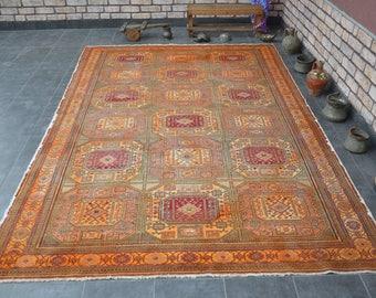 free ship rug,9'7''x6'3''nomadic turkish rug,vintage area rug,old big oushak rug,297x194,oriental ethnic rug,antique decorative rug