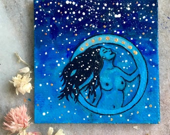 Goddess Nut of the sky mini acrylic hand painted magnet.