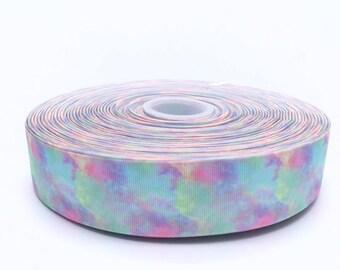 """Pastel Rainbow Clouds 1.5"""" 38mm Width Grosgrain Ribbon per Meter"""