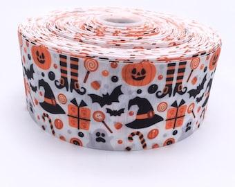 "Halloween Icons 3"" 3 Inch Width Grosgrain Ribbon per Meter"