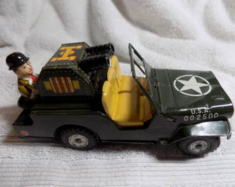Vintage Miltary Friction Jeep - Makes Noise - Does Not Move
