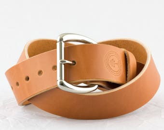 Full Grain Leather Belt // Mens Leather Belt // Womens Leather Belt // Veg Tanned American Leather // 1.5 inch Roller Belt in Tan No. 101