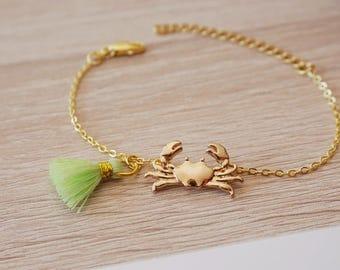 Bracelet crab was Sun Pompom, gold plated 18 k, bracelet boho design trend