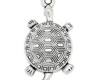 3.5 cm big turtle charm pendant Silver (A28)