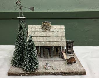 Cabin diorama large in winter