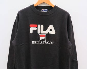 Vintage FILA Biela Italia Sportswear Black Pullover Sweater Sweatshirt Size L