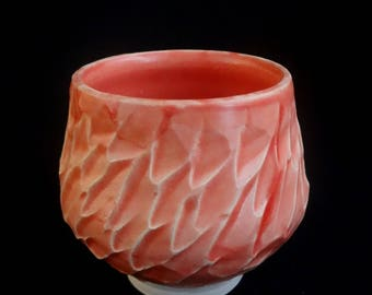 Salmon/Pink Carved Cup