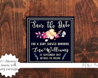Baby Shower Save the Date Navy and Floral. Baby Shower Printable Save the Date. Digital Baby Shower Save the Date. Baby Shower Save the Date
