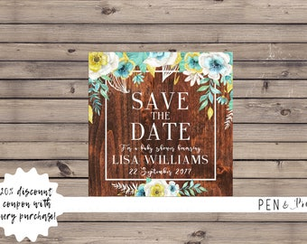 Baby Shower Save the Date Mint and Gold Floral with Wood. Printable Baby Shower Save the Date. Baby Shower Digital Save the Date.