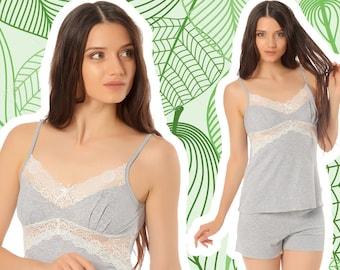 Viscose Pajama Set (with lace) Cotton - nightgown, sleepwear