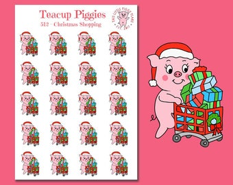 Teacup Piggies - Christmas Shopping Planner Stickers - Mini Planner Stickers - Christmas presents - Christmas shopping -Retail Therapy [512]