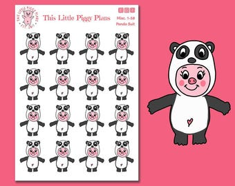 Panda Suit Oinkers - Panda Planner Stickers - Pandas - Pig Stickers - Animal Planner Stickers - Winter Stickers - [Misc. 1-58]