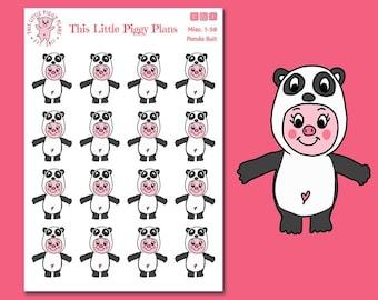 Panda Suit Oinkers - Panda Planner Stickers - Pandas - Pig Stickers - Animal Planner Stickers - Winter Stickers - [Misc. 1-58]