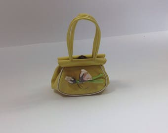 Vintage little girls yellow purse flowers easter