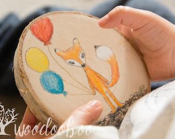 Hand-drawn fox art wall hanging, Woodland fox art, Woodland nursery wall art, Woodland wood slice animal decor, Woodland Animals Wood Slice