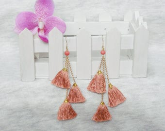 Tassel Earrings, Tassel Chandelier Earrings, Tassel Cluster Earrings