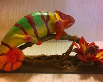 Chameleon in papier mache