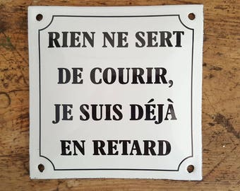French enamel plaque accounting humor (no use to run)