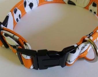 Orange dog collar, Bespoke dog collars, handmade dog collars, dog collars UK,unique dog collars, fabric dog collars,high quality dog collars
