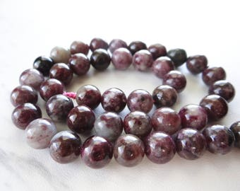 Pink Tourmaline smooth round beads/9mm/7.5 inches long