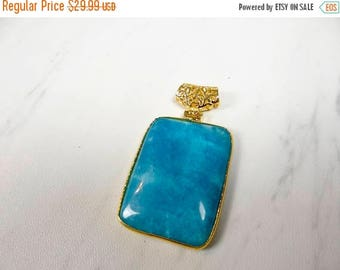 59% End of Summer Sale-- Beautiful Blue aquamarine gold plated Pendant/43x32mm