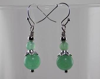 Green Aventurine, light green, silver, petite dangles, natural stone beads