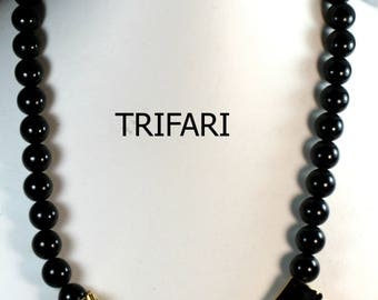Vintage Trifari Black Beaded and Gold Pendant Necklace
