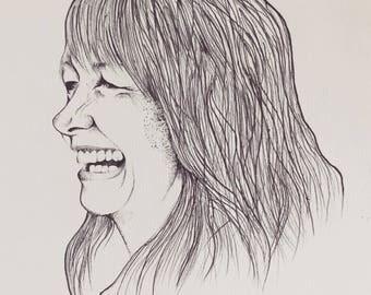 Custom Black & White Ink Portrait
