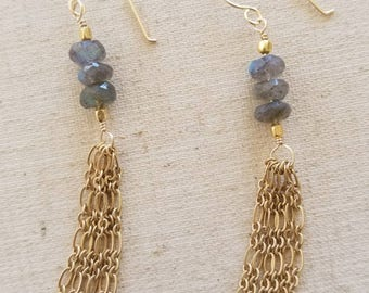 60% OFF SALE!!! Jellyfish Inspired 'Ericca' Earrings with Labradorite and Gold Chain Bohemian Boho Gypsy Hippie Coachella Trendy 2017