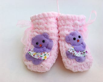 Purple Bear Booties Pink Baby Booties Baby Girl Shoes Knitted Crib Shoes Newborn Baby Gift Crochet Pink Booties Baby Shower Gift BabyNestBed