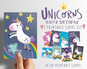 Happy birthday Unicorn 9 printable cards set 50% OFF! INSTANT DOWNLOAD, Unicorn birthday card, Unicorn printable card, Unicorn party card