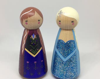 Anna & Elsa - Frozen Inspired Peg Dolls