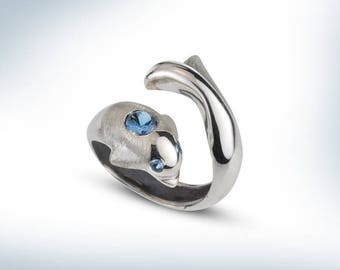 925 solid silver Dolphin ring,Dolphin ring,Blue Topaz engagement Ring,CASUF jewellry