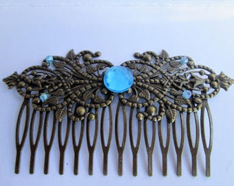 Large comb blue for hairdressing woman / comb vintage / comb fashion / comb retro / comb / comb fantasy