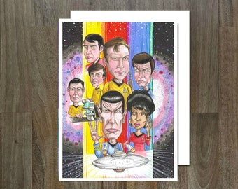 Star Trek, 60's Series, Eco Friendly, Cult Caricature Greeting Card