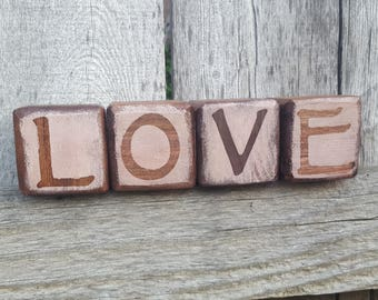 Handcrafted Wooden LOVE blocks - Rustic Home Decor